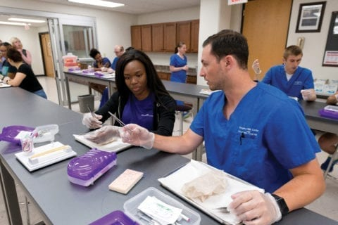 Health PASS 2017 students learn to suture.